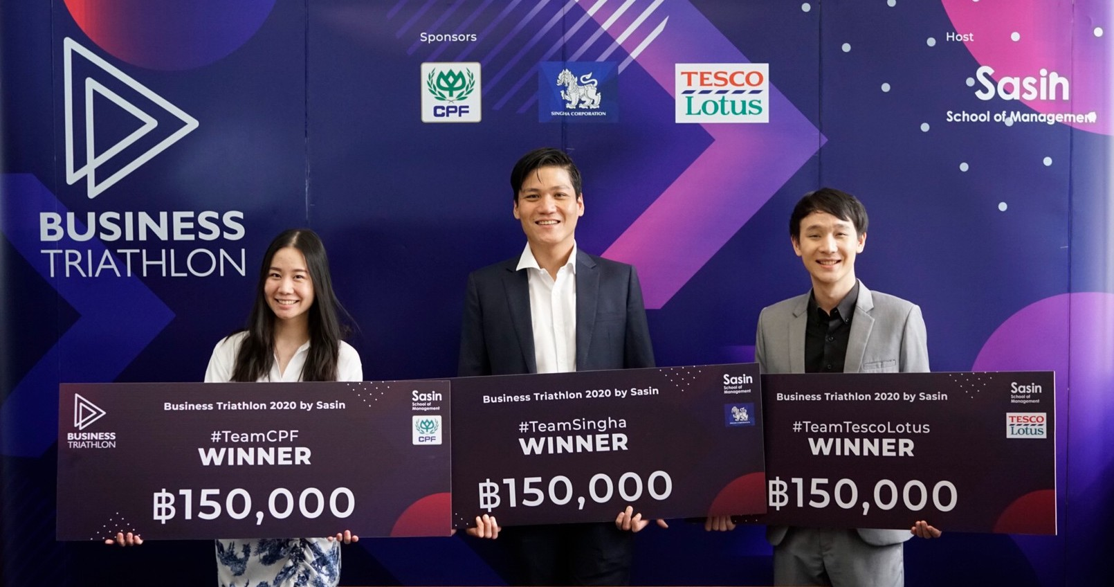 ผู้ชนะการแข่งขัน Business Triathlon 2020 by Sasin โครงการแข่งขันการเรียนรู้เชิงปฏิบัติจริงสำหรับนักศึกษาปริญญาตรี