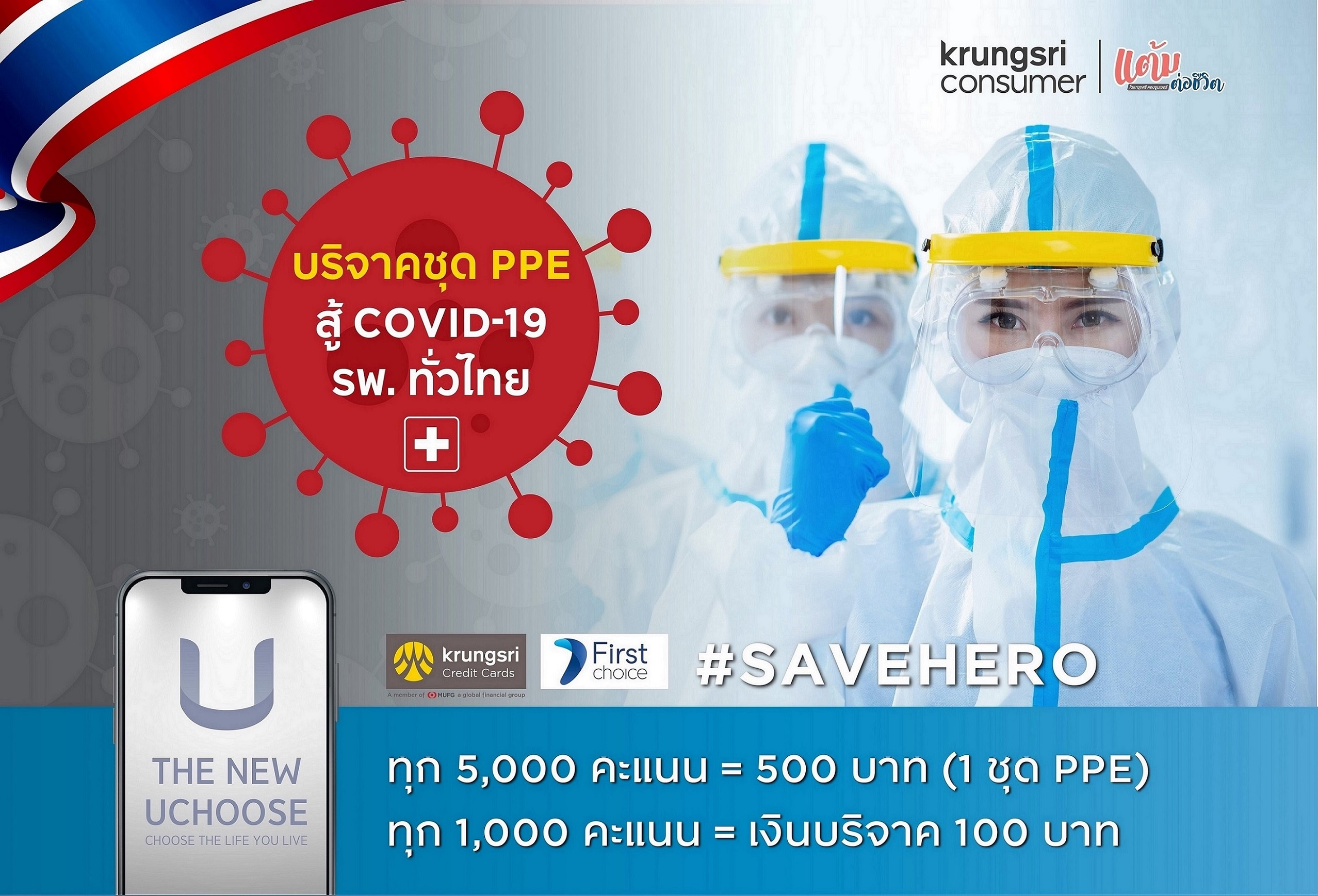 """กรุงศรี คอนซูมเมอร์ เดินหน้า """"โครงการแต้มต่อชีวิต"""" ชวนแลกแต้มบัตรเครดิตบริจาคชุด PPE มอบโรงพยาบาลทั่วไทยสู้ภัย 'COVID-19'"""