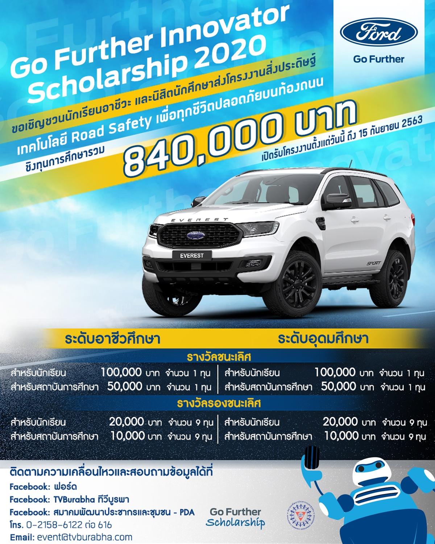 ฟอร์ดจัดการแข่งขันโครงการ Go Further Innovator Scholarship ปีที่ 6 ประกวดโครงงานนวัตกรรมสิ่งประดิษฐ์ ชิงทุนรวม 840,000 บาท