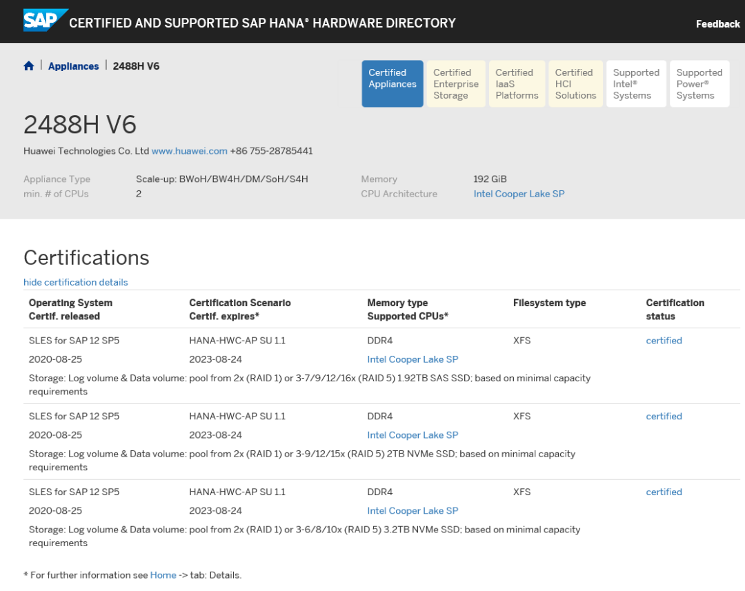 """""""หัวเว่ย"""" เผยเซิร์ฟเวอร์ FusionServer Pro 2488H V6 ผ่านการรับรอง SAP HANA Appliance Certification"""